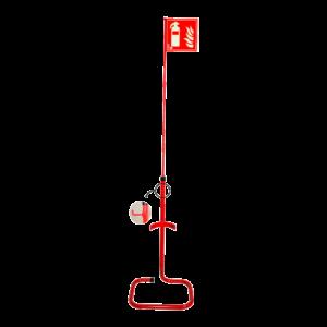 Soporte suelo con banderola para extintores CO2