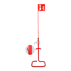 Soporte suelo con banderola para extintores Polvo